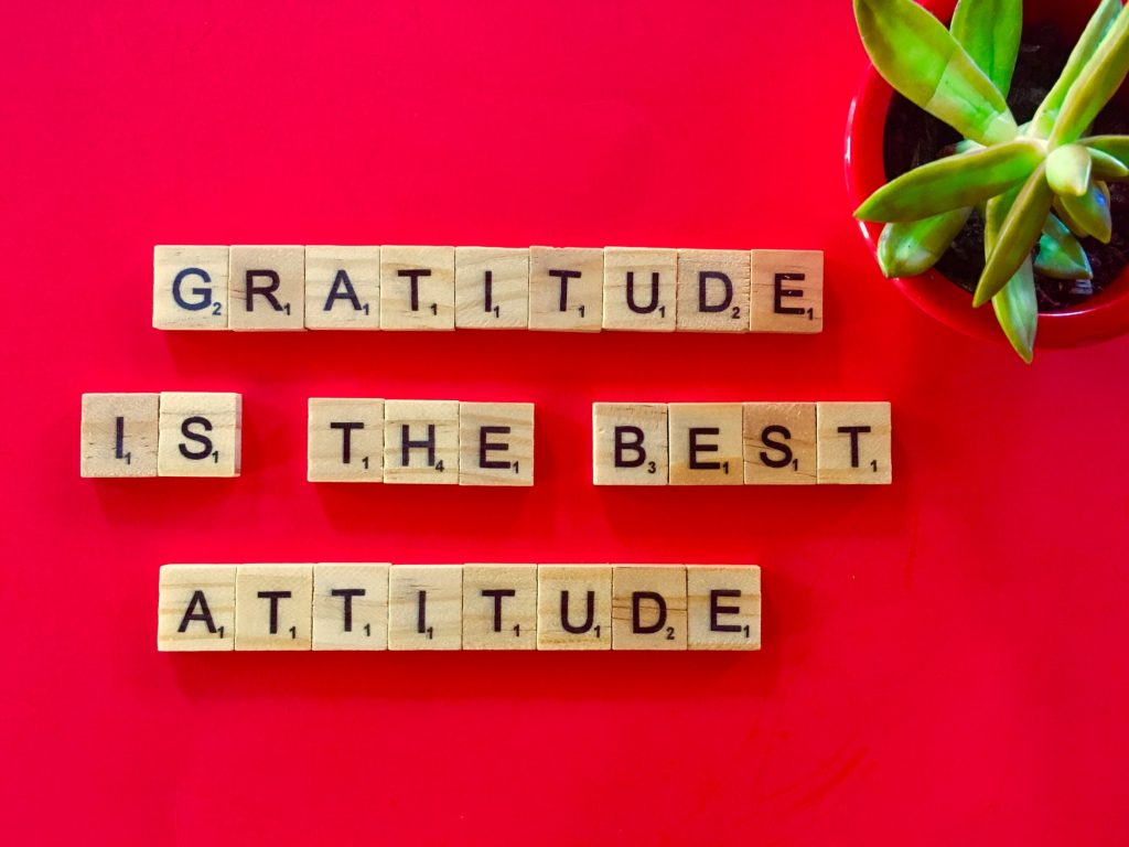 GRATITUDE on red background